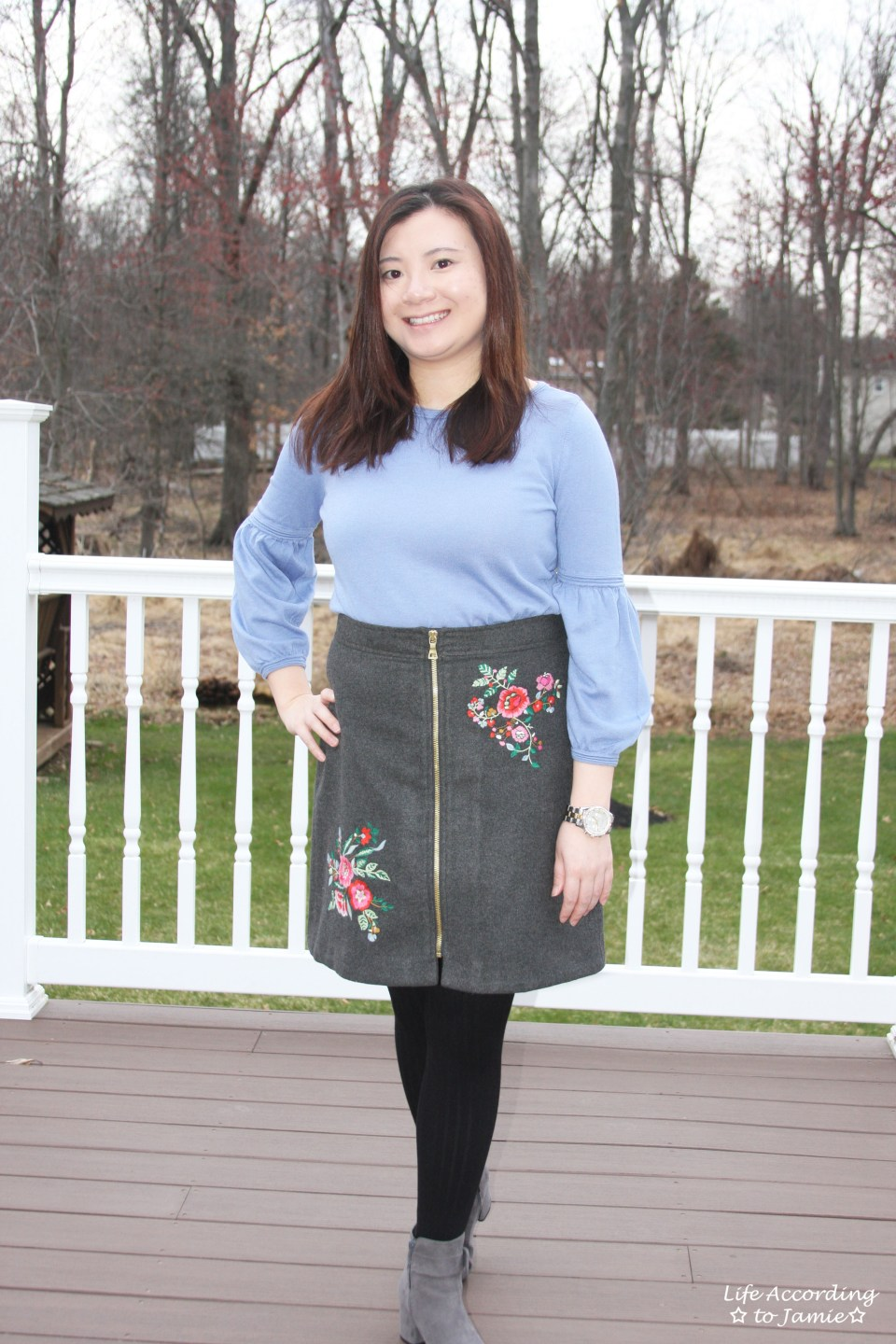 Floral Embroidered Zip Skirt 7