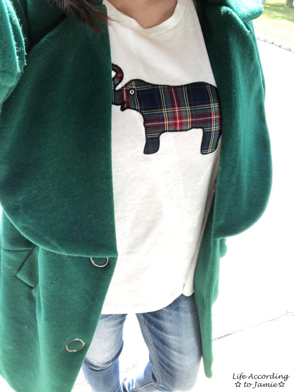 Green Lapel Coat + Plaid Elephant Tee 1