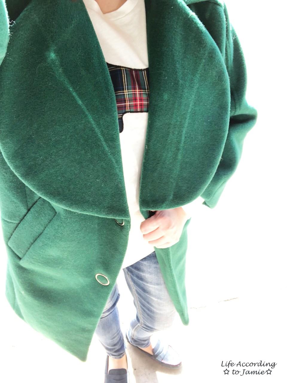 Green Lapel Coat + Plaid Elephant Tee 2