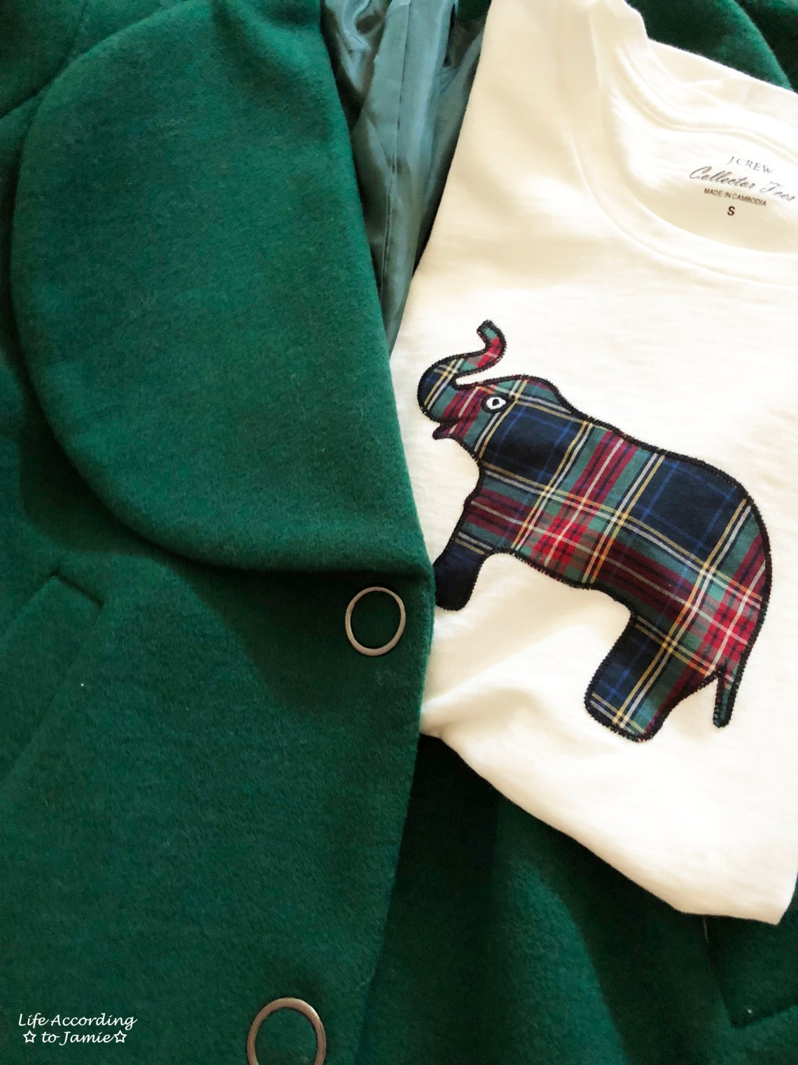 Green Lapel Coat + Plaid Elephant Tee