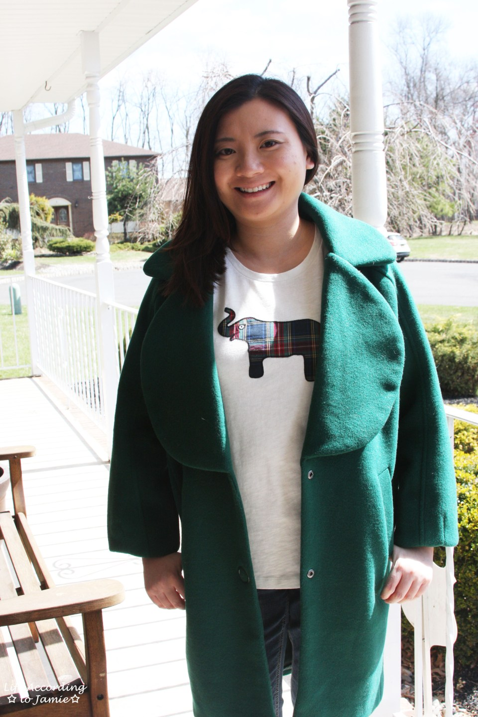 Green Lapel Coat + Plaid Elephant Tee 5