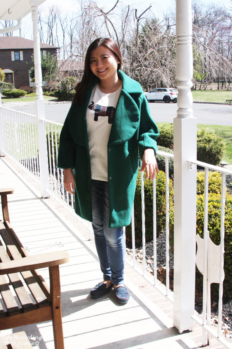 Green Lapel Coat + Plaid Elephant Tee 7