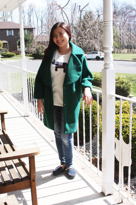 Green Lapel Coat + Plaid Elephant Tee 7