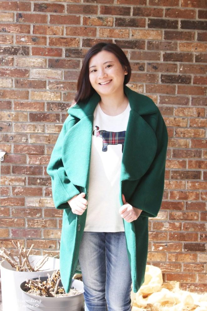 Green Lapel Coat + Plaid Elephant Tee 9
