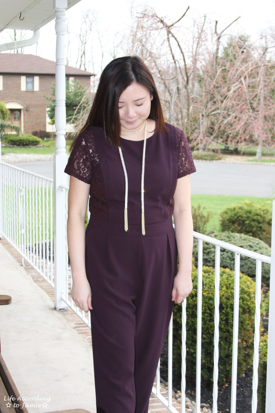 Lace Panel Jumpsuit + Arlo Lariat 7