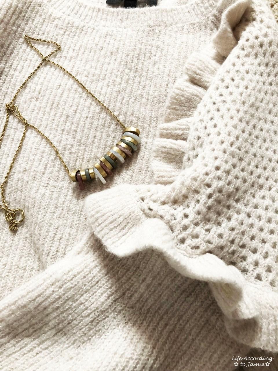 Ruffle Balloon Sleeves + Stone Necklace 1