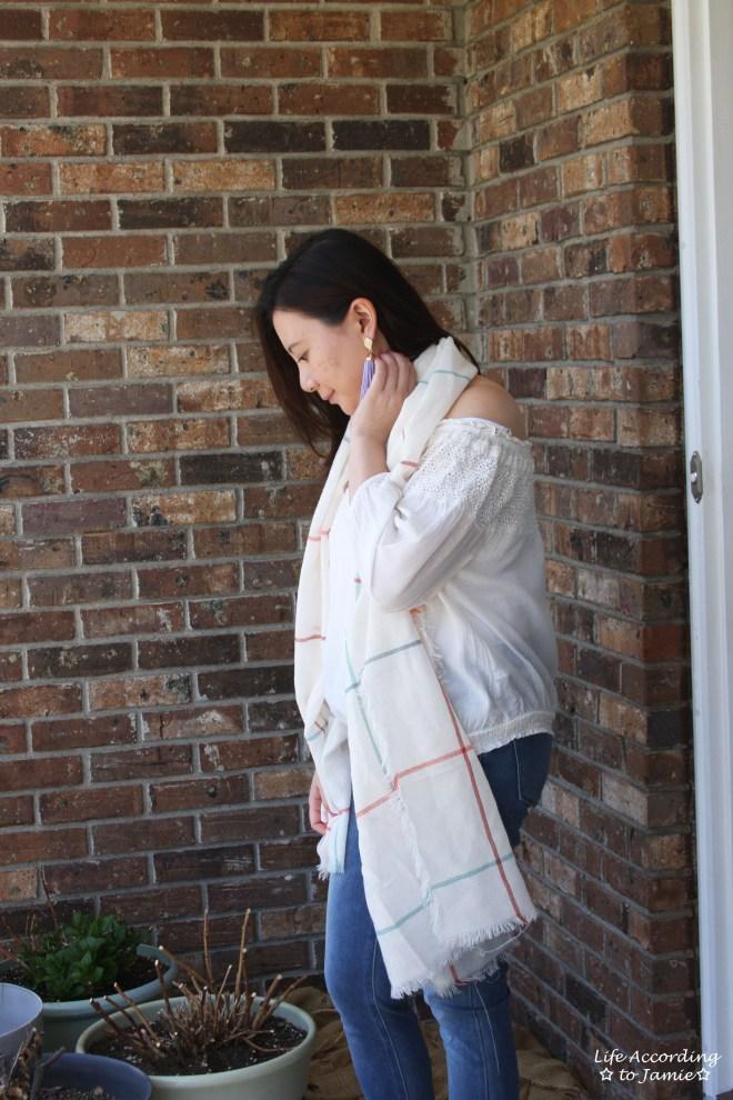Windowpane Scarf + Tassel Earrings 9