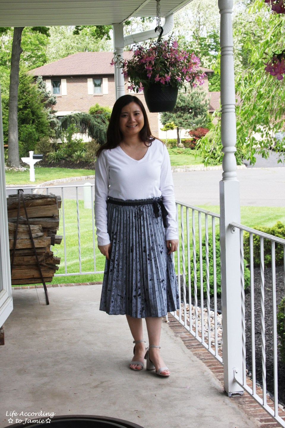 Blue Velvet Pleated Midi Skirt 12