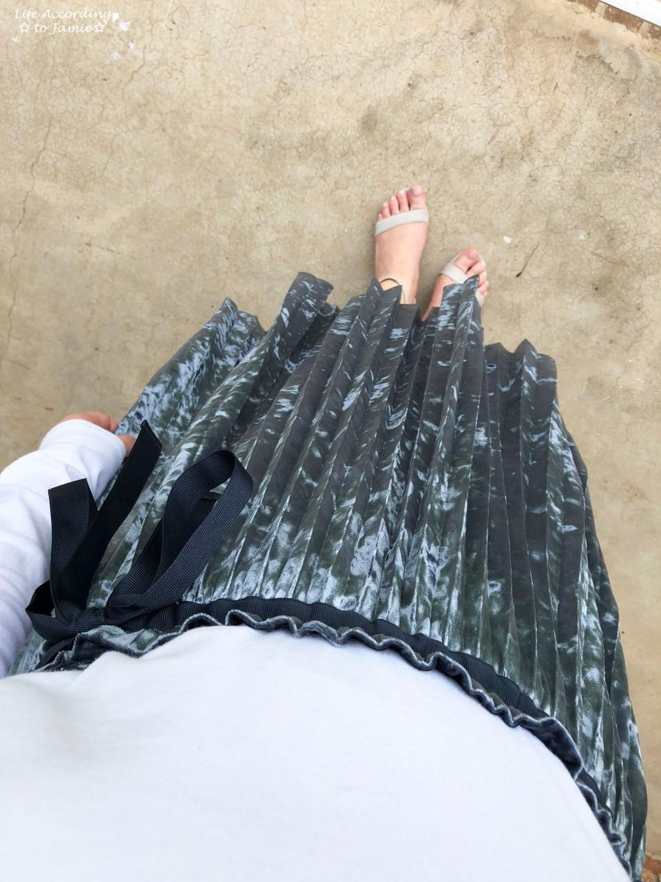 Blue Velvet Pleated Midi Skirt 4