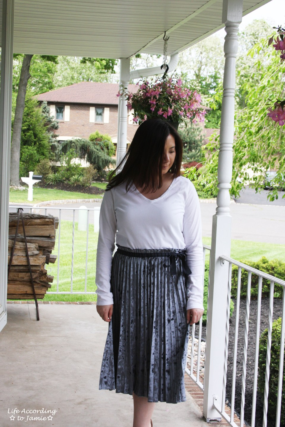 Blue Velvet Pleated Midi Skirt 7