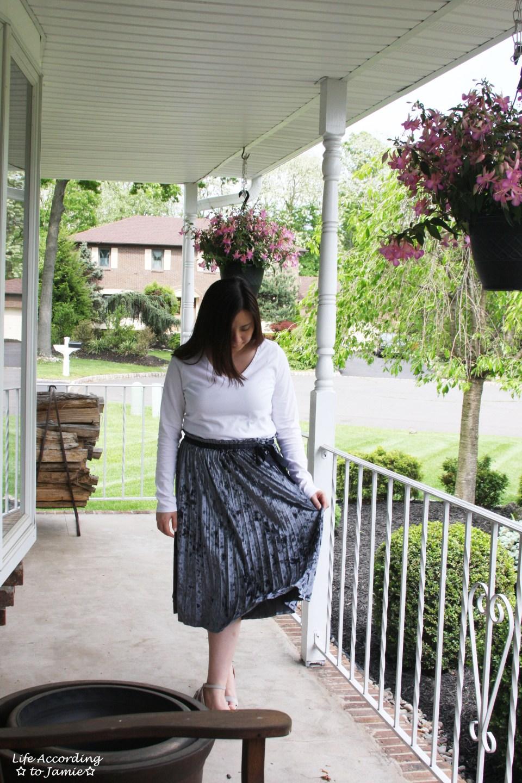 Blue Velvet Pleated Midi Skirt 8