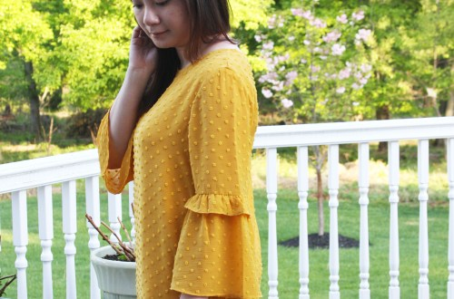 French Knot Mustard Blouse