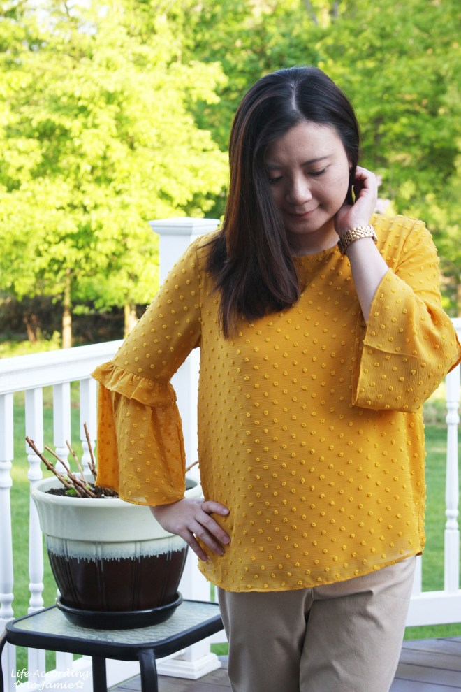 French Knot Mustard Blouse 4