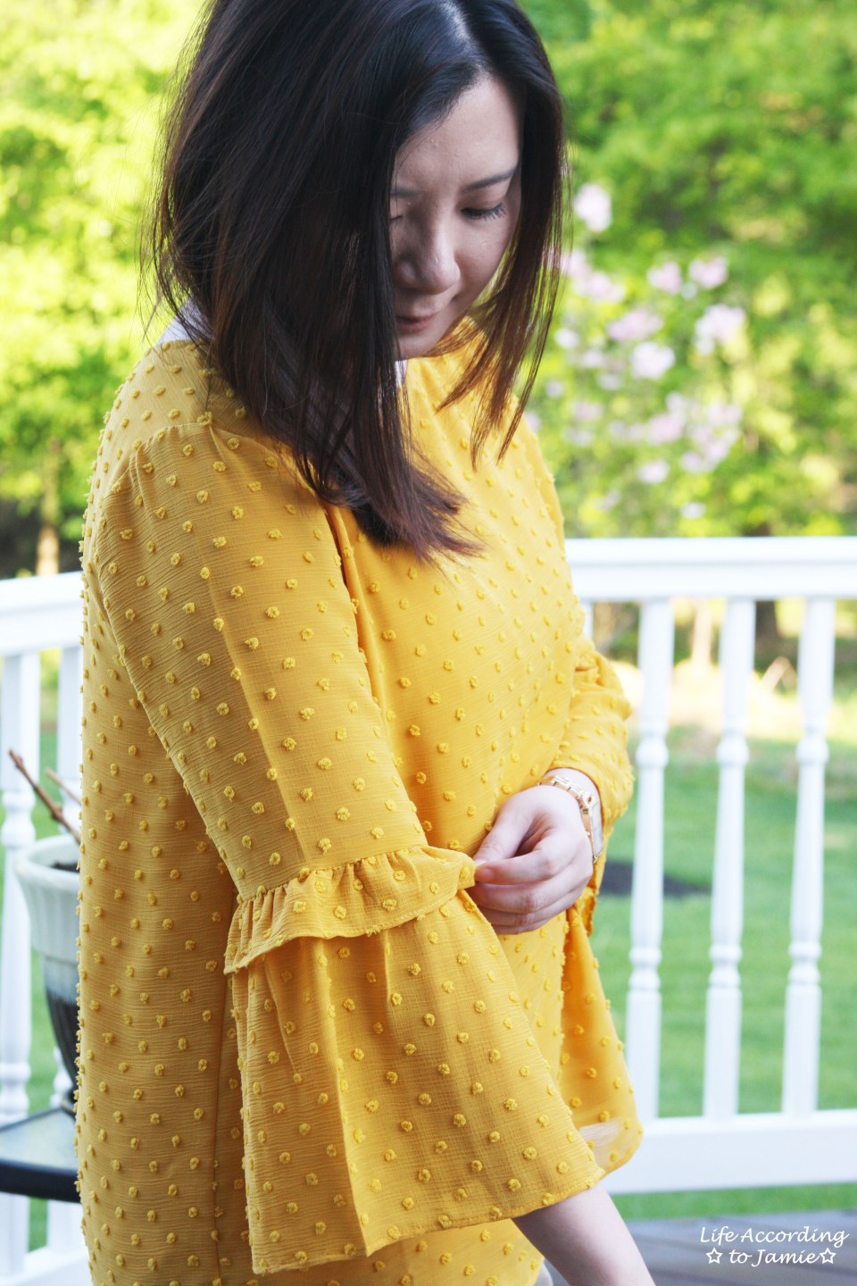 French Knot Mustard Blouse 6
