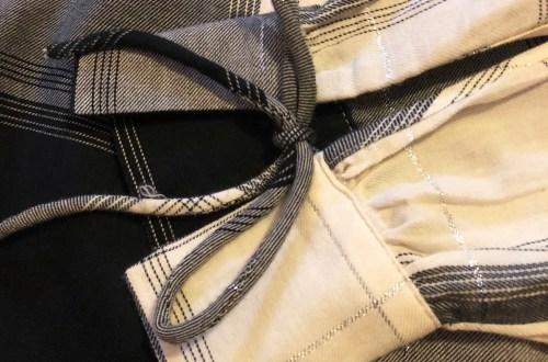 Grey Plaid Split Neck