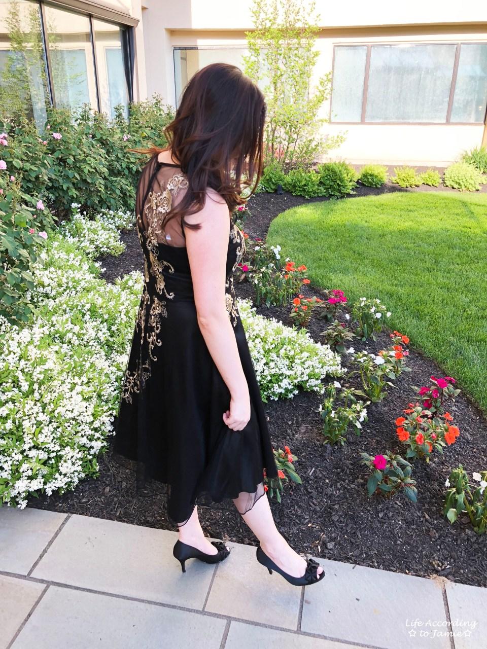 Metallic Flower Illusion Dress 5