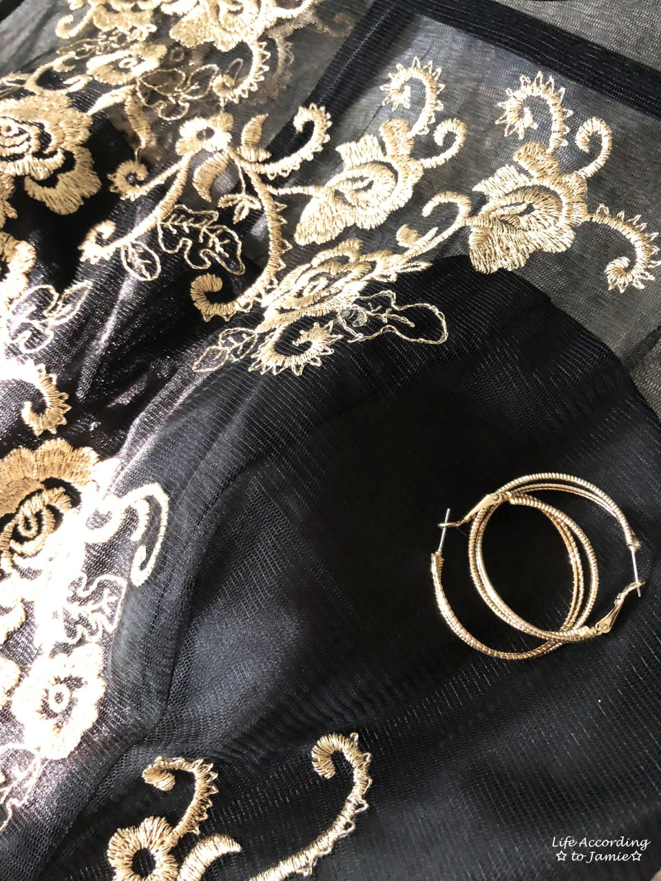 Metallic Flower Illusion Dress + Gold Hoops
