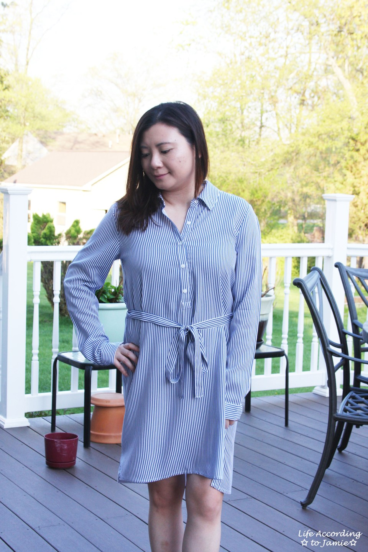 Pinstripe Shirt Dress 7
