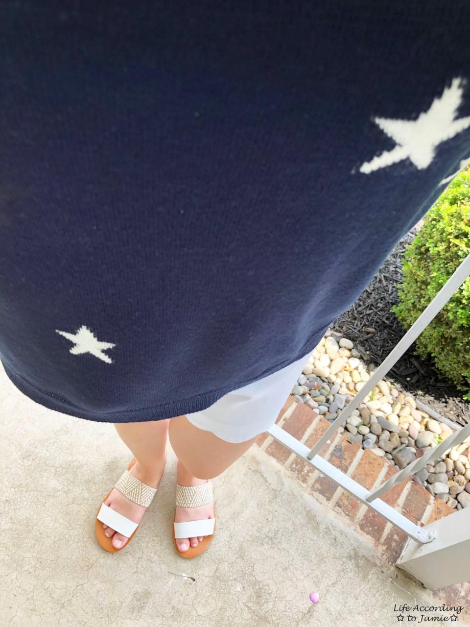 Star Sweater + White Scalloped Shorts 1