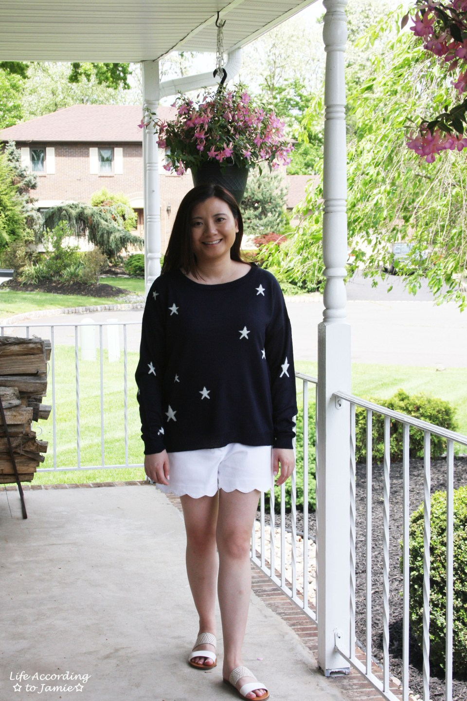 Star Sweater + White Scalloped Shorts 3
