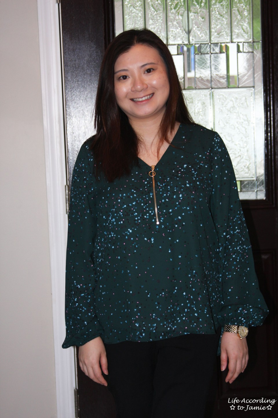 Teal Dot Front Zip Blouse 3