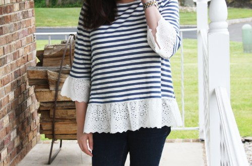 Blue Stripes + Eyelet Trim