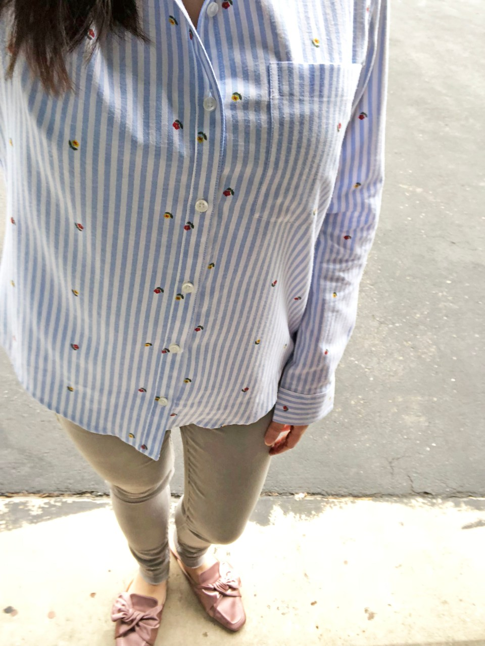Floral Pinstripe Button Down 11