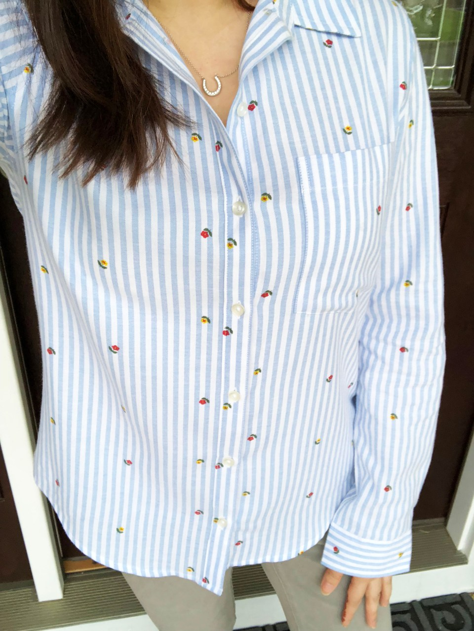 Floral Pinstripe Button Down 8