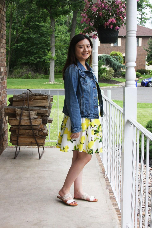 Lemon Print Dress + Denim Jacket 1