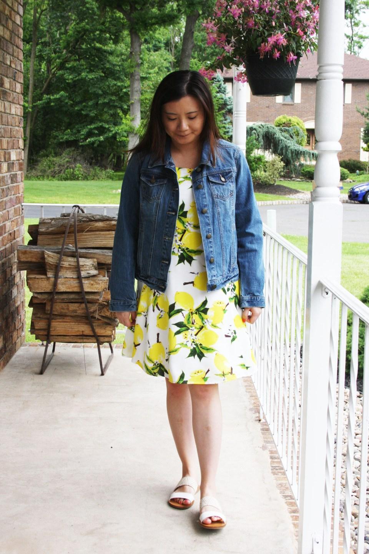 Lemon Print Dress + Denim Jacket 3