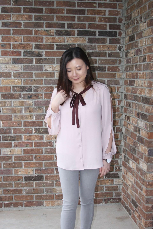 Pink + Maroon Necktie Blouse 5