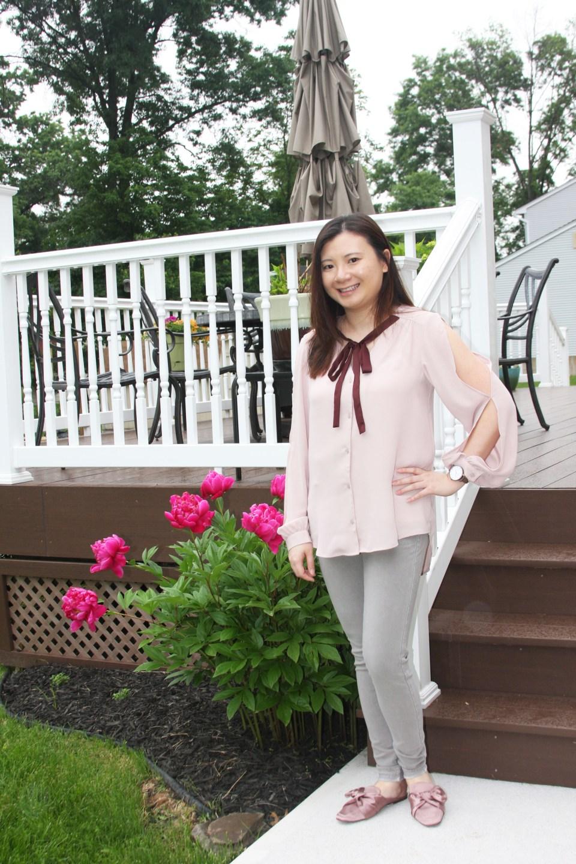 Pink + Maroon Necktie Blouse