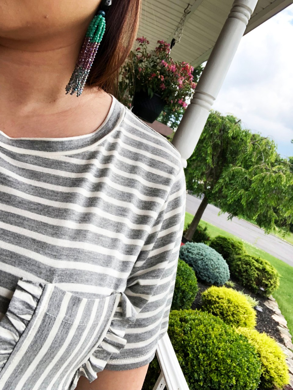 Striped Ruffle Pocket Tee 11
