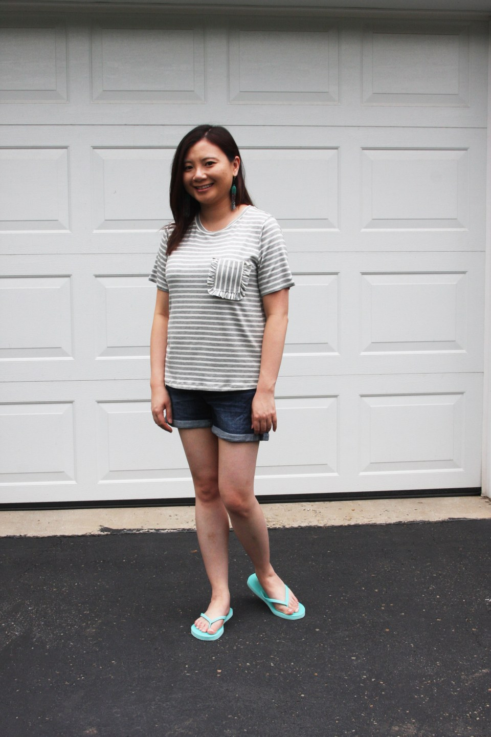 Striped Ruffle Pocket Tee 5