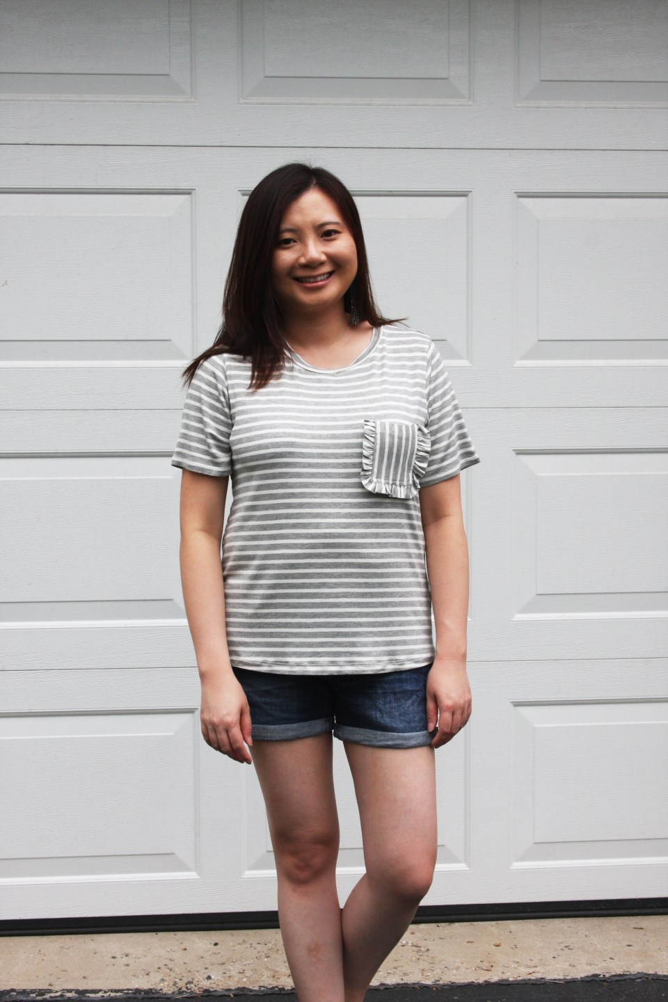 Striped Ruffle Pocket Tee 6