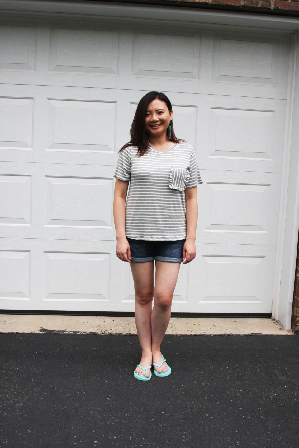 Striped Ruffle Pocket Tee 7