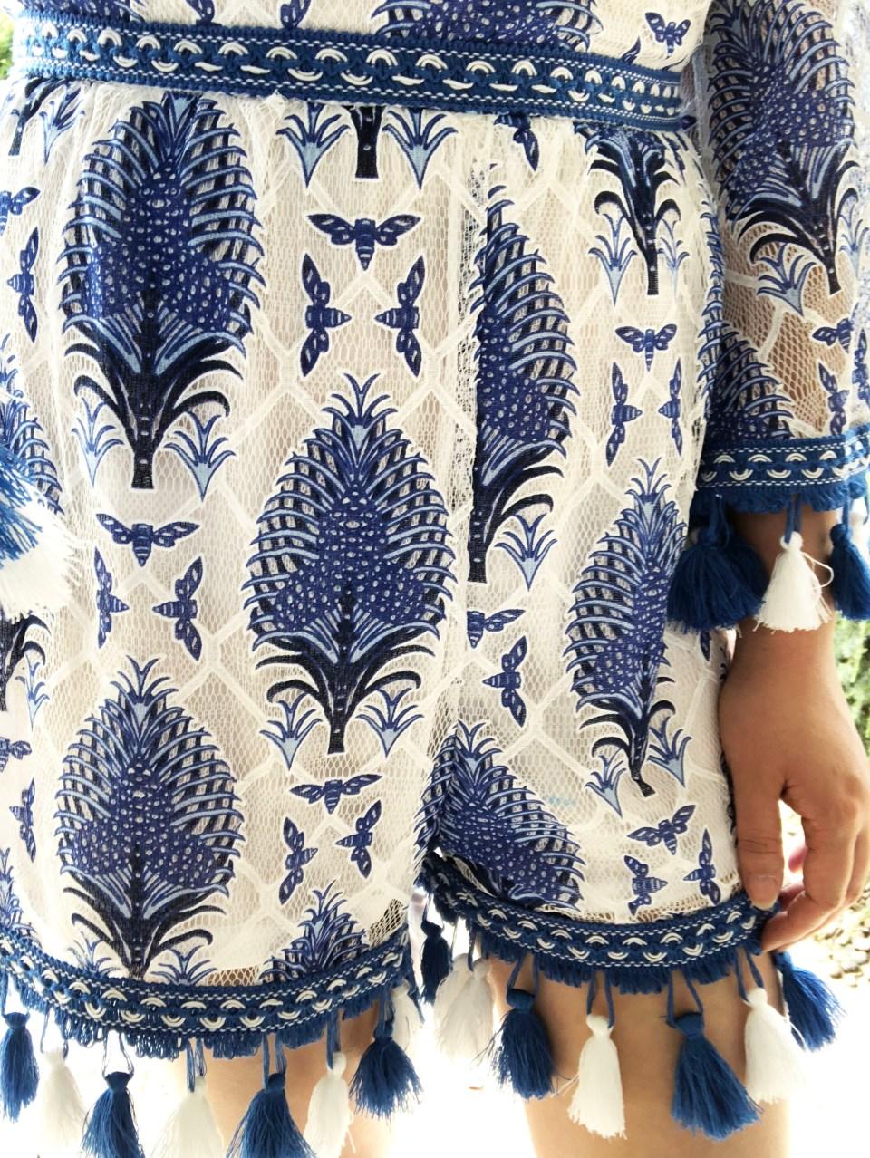 Blue & White Tassel Romper 13