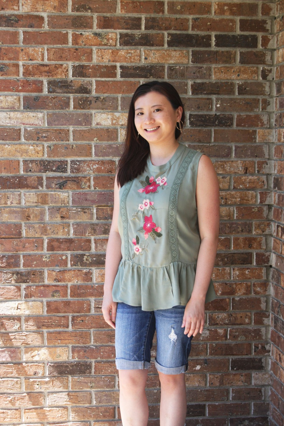Floral Embroidered Olive Peplum 3