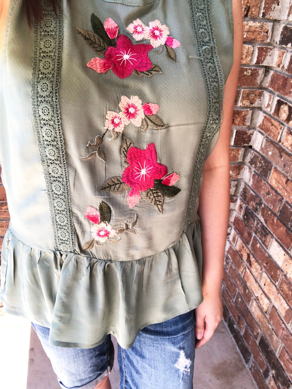 Floral Embroidered Olive Peplum 8