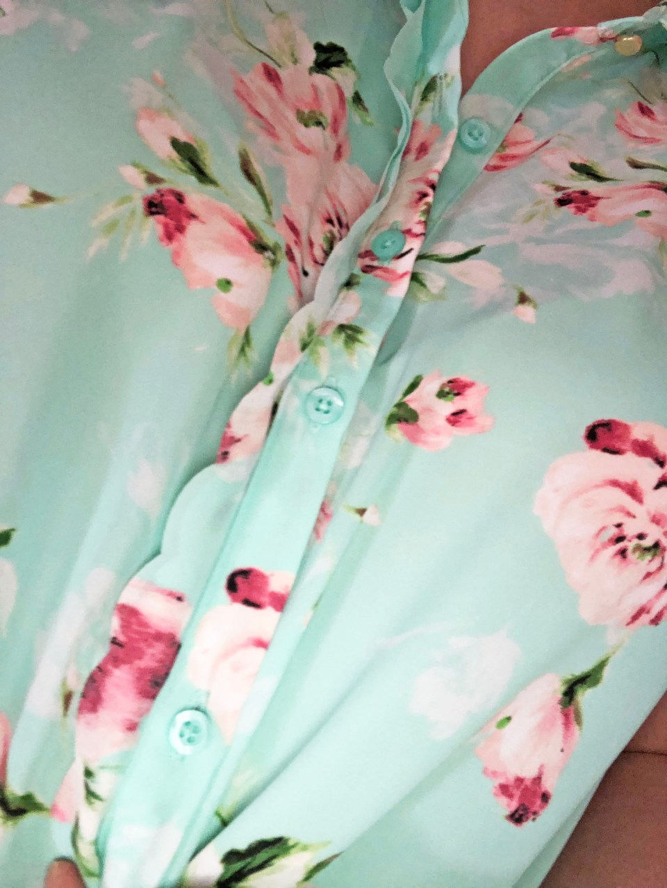 Floral Scalloped Trimmed Blouse