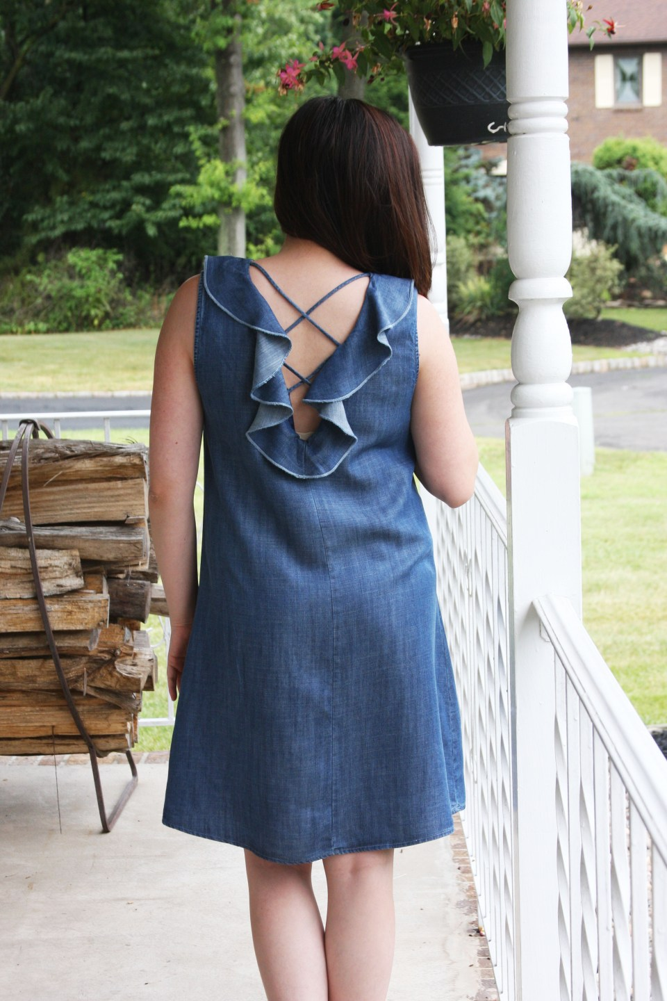 Pearl Embellished Chambray Dress 3