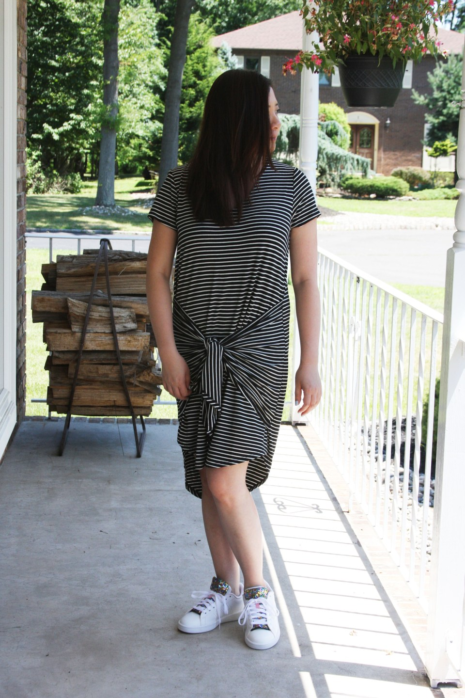 Striped Front Tie High-Low Dress 1
