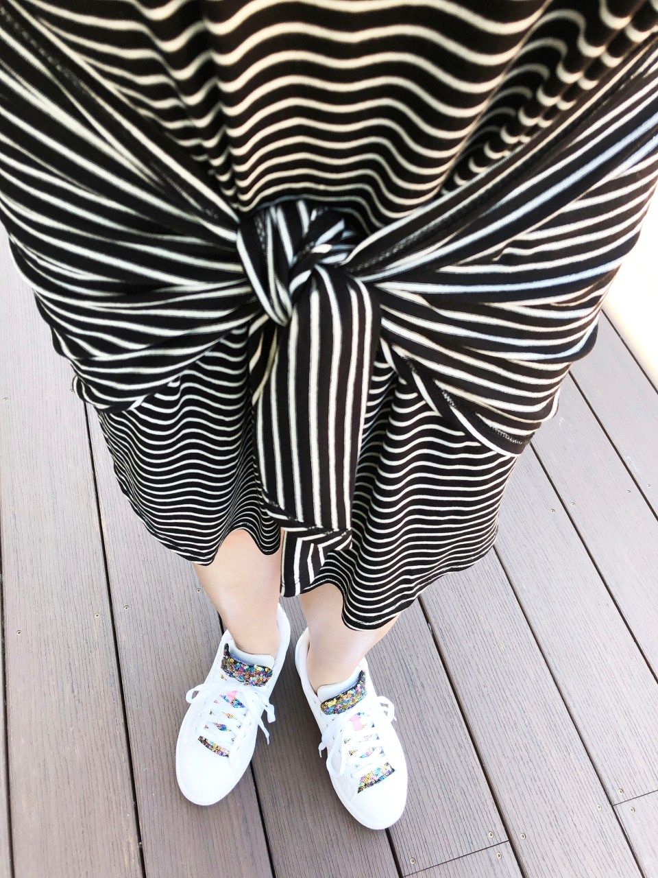Striped Front Tie High-Low Dress 15