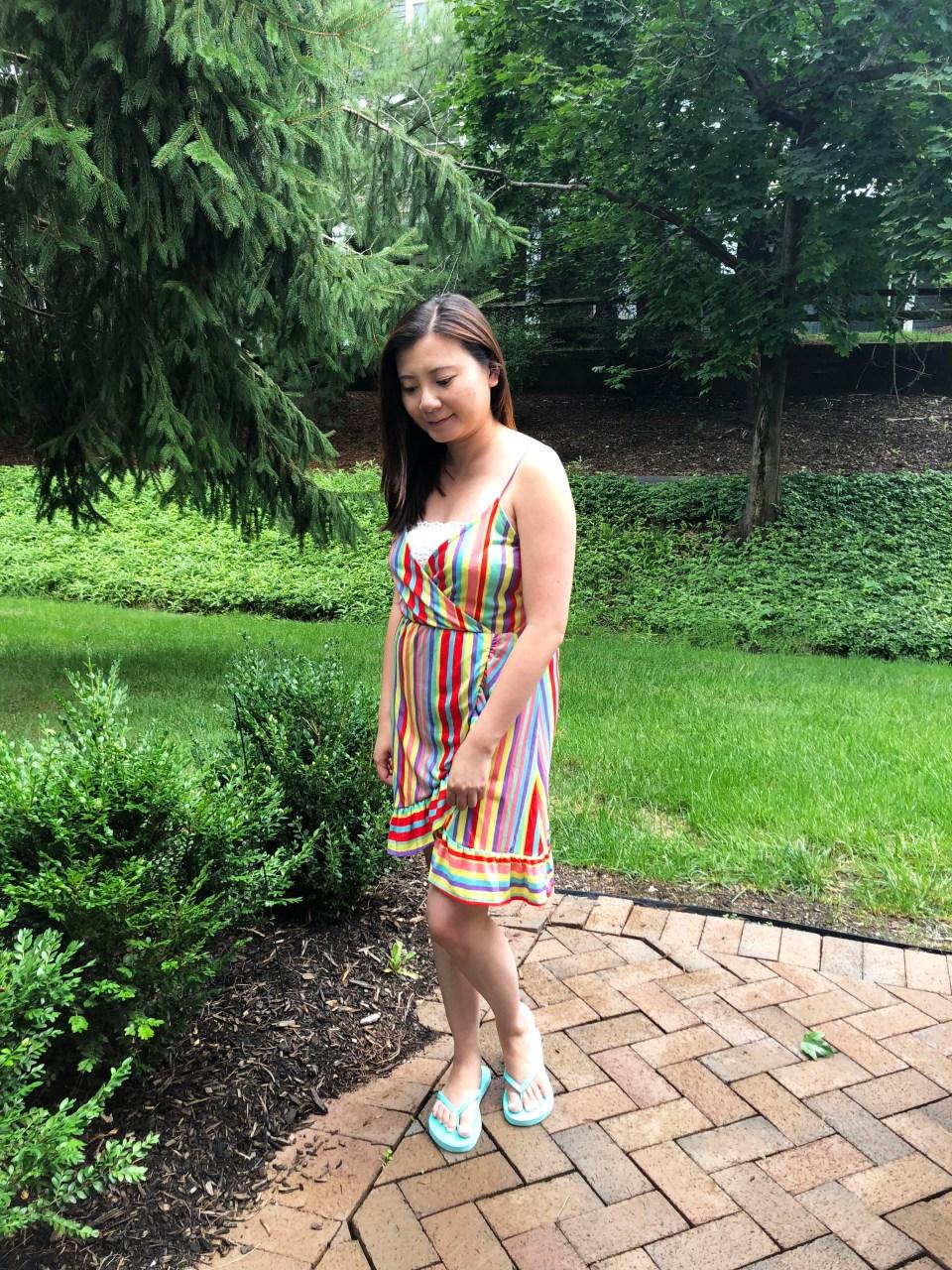 Bright Stripe Wrap Dress 1