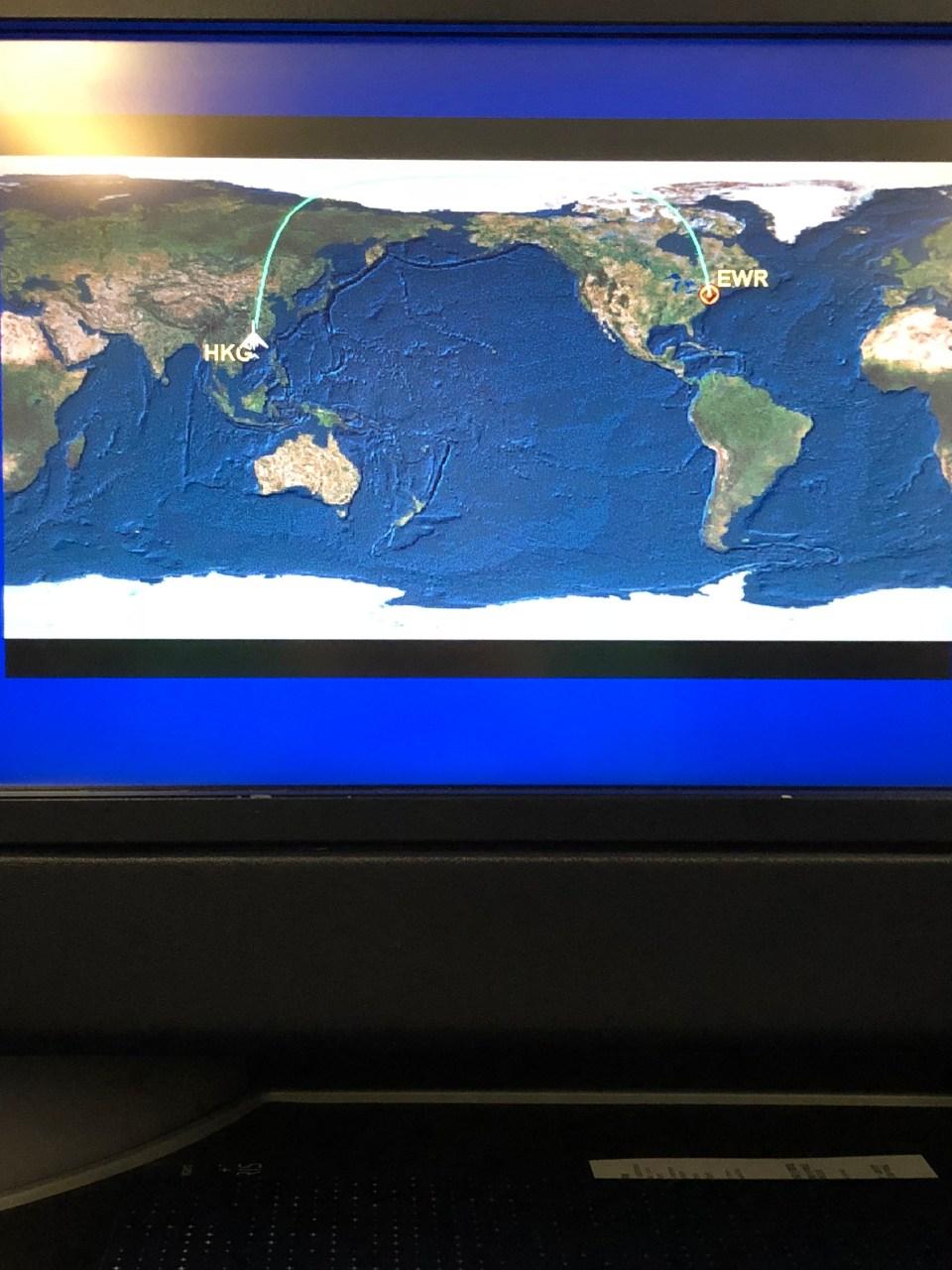 Hong Kong to New Jersey flight map 2