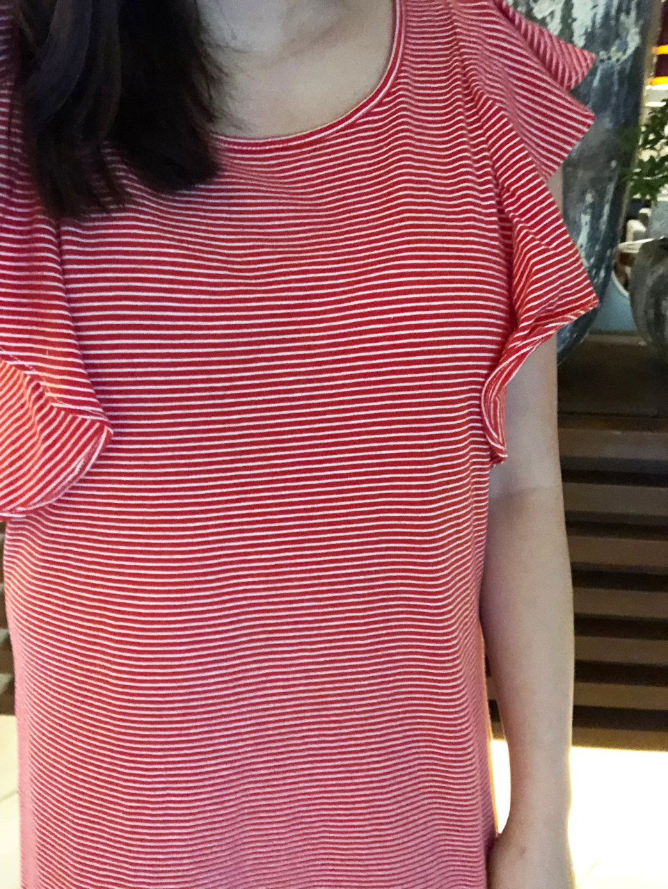 Red & White Striped T-Shirt Dress 9