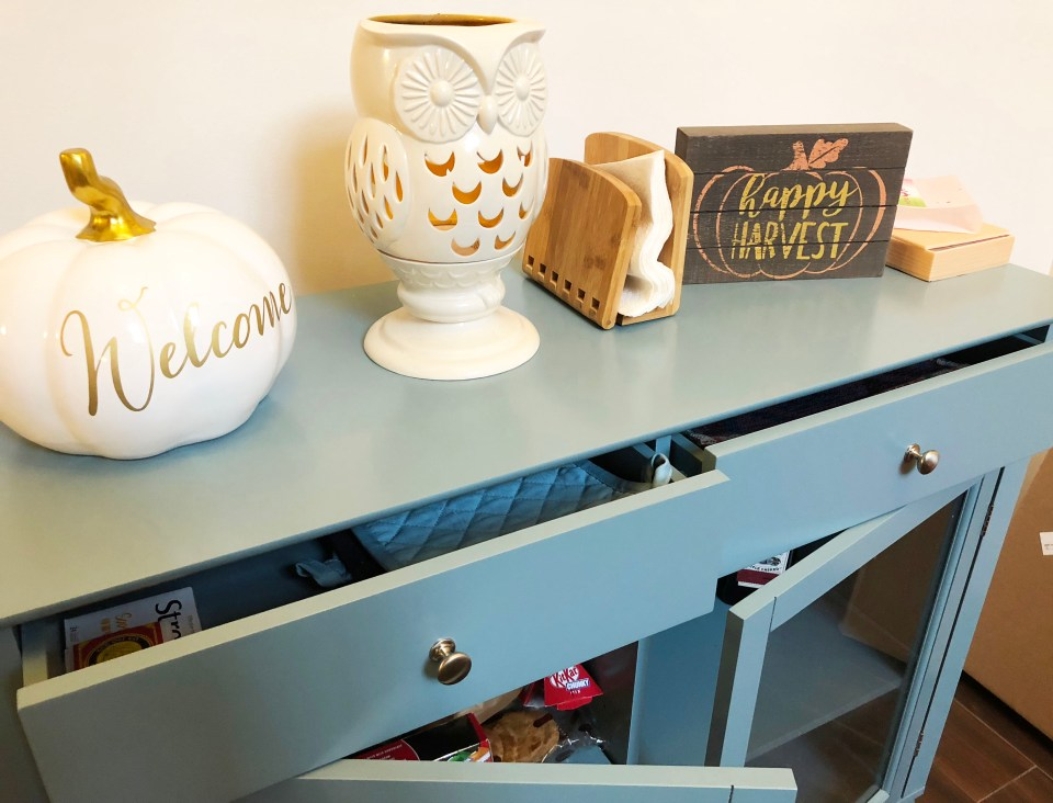Antique Blue Buffet Table 4