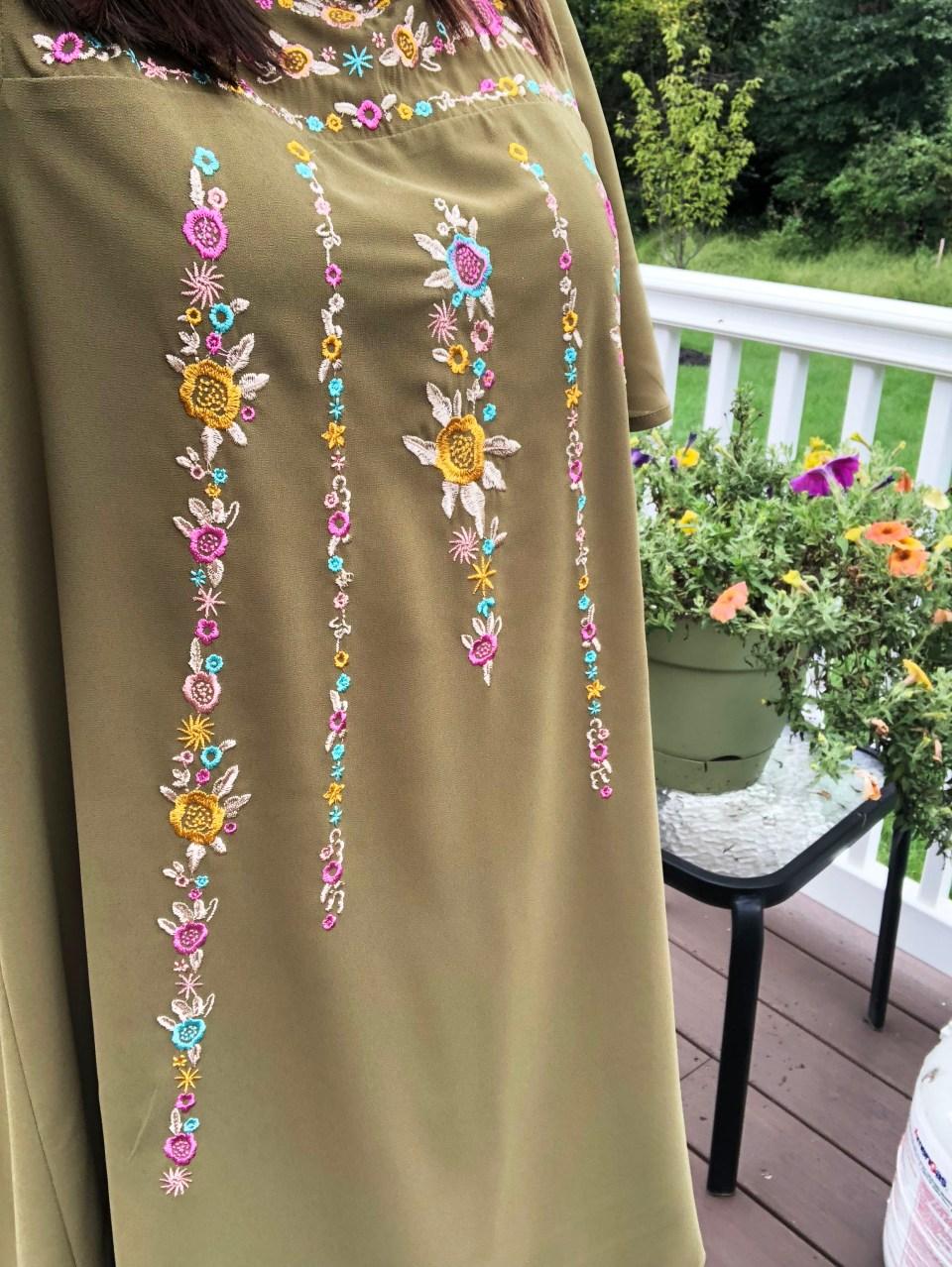 Embroidered Olive Dress 11