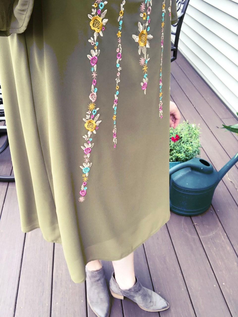 Embroidered Olive Dress 12