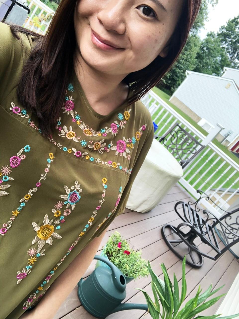 Embroidered Olive Dress 15